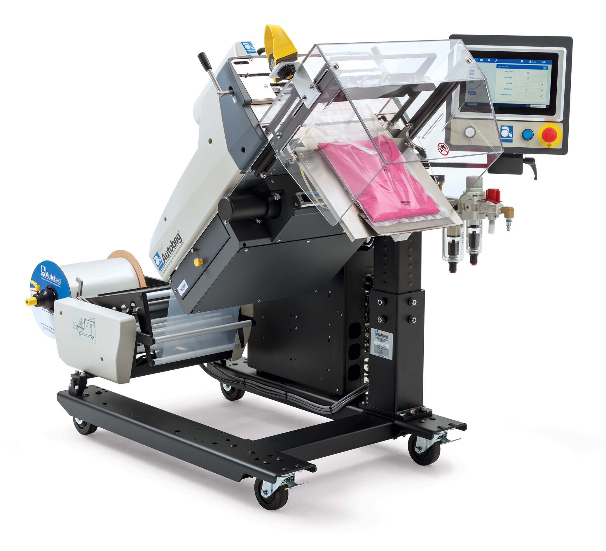 Autobag 550 Bagging system 45 degree tilt with t-shirt